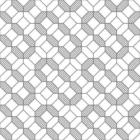 Seamless pattern. Modern stylish texture. Regularly repeating geometrical linear ornament with striped hexagons, rhombuses, octagons. Vector element of graphical design Stock fotó - 124991401