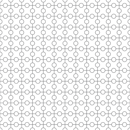 Seamless pattern. Simple classical geometrical texture. Regularly repeating circles, dots, crosses. Wrapping paper. Vector element of graphical design