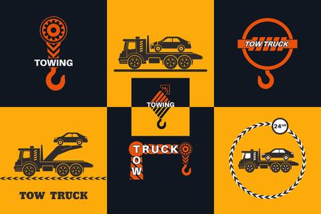 Ensemble d'icône de camion de remorquage. Évacuation des voitures 24h/24. Le design peut être utilisé comme logo, affiche, publicité, panneau de chant. Élément de vecteur de conception graphique Logo