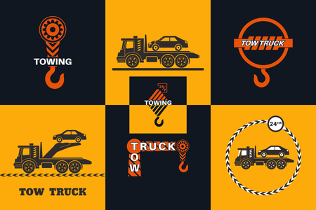 Set of Tow truck icon. Round the clock evacuation of cars. Design can be used as a logo, a poster, advertising, singboard. Vector element of graphic design Logo