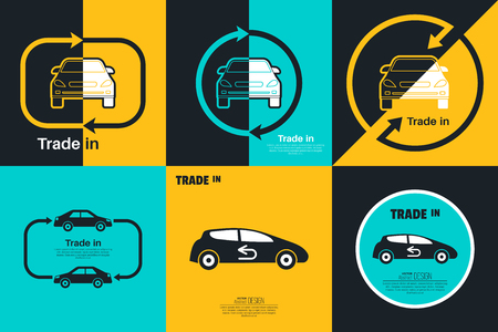 Set of Trade in concept. Exchange of the car with surcharge. Concept get prettier transactions it is made with the vehicle. Vector element of graphical design Ilustração