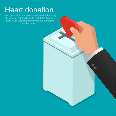 The hand of the parishioner puts heart in a box for donation. Concept of love for God. Fidelity and service to Christianity.3D. Isometry. A vector illustration in flat style. Stock fotó - 124748050