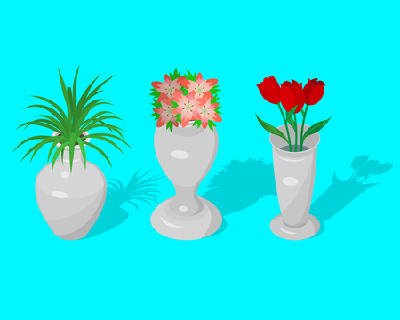 A set of jugs and a vase with decorative flowers with a shadow. Elements for design.3D. Isometry. A vector illustration in flat style. Stock fotó - 124748051