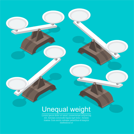 A set of weights. An unequal weight. A shift in one direction. An unequal value. 3D. Isometry. Elements for design. A vector illustration in flat style. Stock fotó - 124748052