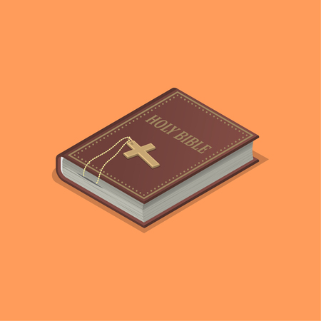 Holy bible with a cross.Church service symbol.Book by the Christian.Element for design.3D. Isometry.Vector illustration in flat style. Illustration