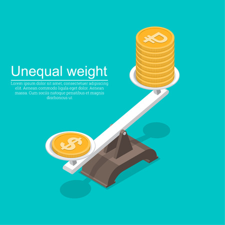 Coins with a symbol of dollar and ruble on scales.Overweight of currency. Business concept.Exchange rate.3D. Isometry. Elements for design. A vector illustration in flat style.