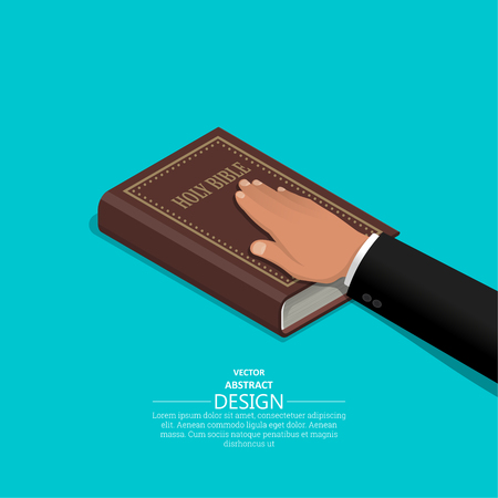Oath on the Holy Bible.The procedure in court. Truth and truth.Promise before god. Oath.3D. Isometry. Elements for design. A vector illustration in flat style. Standard-Bild - 120262639