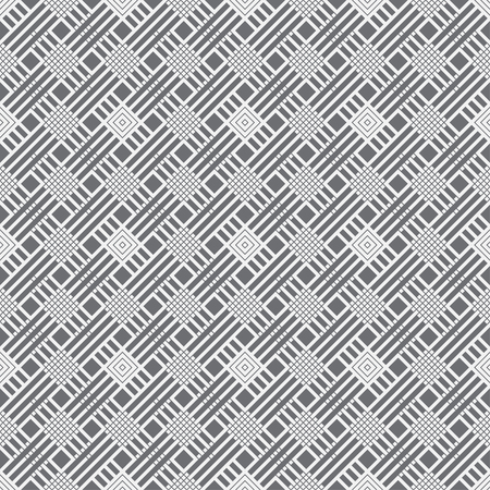 Seamless pattern. Modern stylish texture. Regularly repeating geometrical tiles with outline rhombuses, linear lattices, diagonal strips. Vector element of graphical design Illusztráció