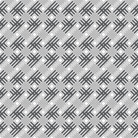 Seamless pattern. Modern stylish texture. Regularly repeating geometrical tiles with outline rhombuses, linear lattices, crossed strips. Vector element of graphical design