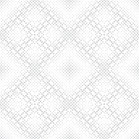 Vector seamless pattern. Infinitely repeating stylish modern texture consisting of dots of the different size which form geometrcial tiles with dotted rhombuses with halftone effect. Illustration