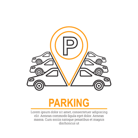 Abstract background with cars and road sign. Parking zone. Vector element of graphical design. Flat style. Ilustração