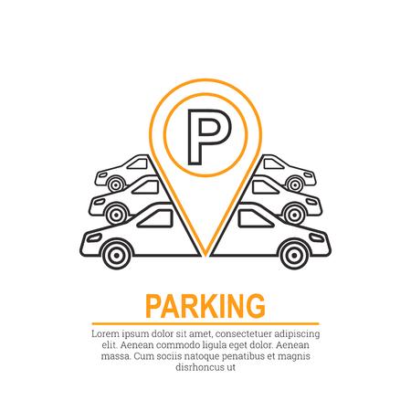 Abstrait avec des voitures et des panneaux de signalisation. Zone de stationnement. Élément de vecteur de conception graphique. Style plat.
