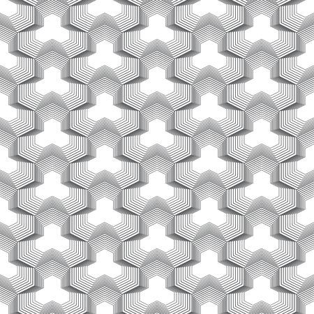 Seamless pattern. Infinitely repeating modern geometrical texture consisting of linear hexagonal polygonal shapes. Thin line. Vector element of graphical design  イラスト・ベクター素材