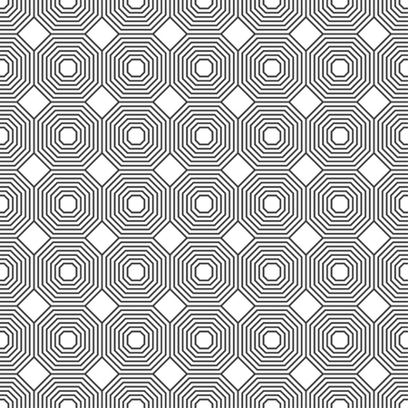 Seamless pattern. Modern stylish texture. Regularly repeating geometrical ornament with linear octagons, rhombuses, diamonds. Vector element of graphical design  イラスト・ベクター素材