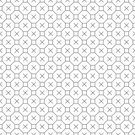 Seamless pattern. Modern stylish texture. Regularly repeating linear octagons, squares, crosses. Thin line. Outline. Contour. Vector element of graphical design