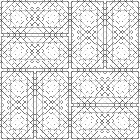 Seamless pattern. Modern geometrical texture with thin lines. Regularly repeating intersecting linear rhombus diamond, rectangle shapes. Vector element of graphical design Illusztráció
