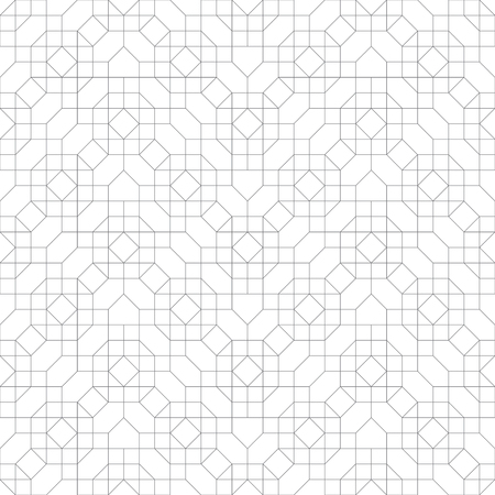 Seamless pattern. Modern stylish geometrical texture. Regularly repeating zigzag shapes with linear octagons, hexagons, rhombuses, squares. Thin line. Vector element of graphical design