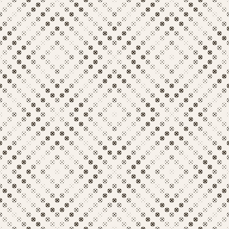 Seamless pattern. Abstract halftone background. Modern stylish texture. Repeating rhombus shapes with scattered dots of the different size. Vector element of graphical design  イラスト・ベクター素材