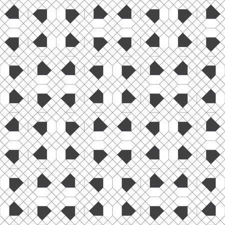 Seamless pattern. Modern stylish texture with outline geometric shapes. Regularly repeating geometrical thin line grid with rhombuses, hexagons, polygons. Vector element of graphical design  イラスト・ベクター素材