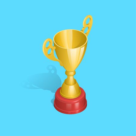 Champion gold cup with a shadow on the isolated blue background.First prize of the winner.Award for a victory.3D. Isometry. An element for design.Vector illustration. Ilustrace