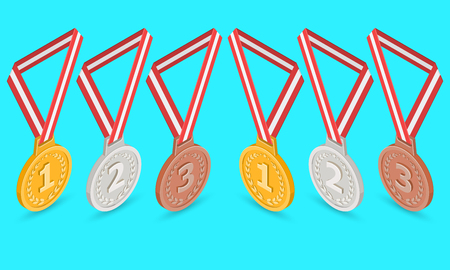 A set of medals for rewarding. Gold, silver, bronze signs.Elements for design. Isometric.3D. A vector illustration in flat style.