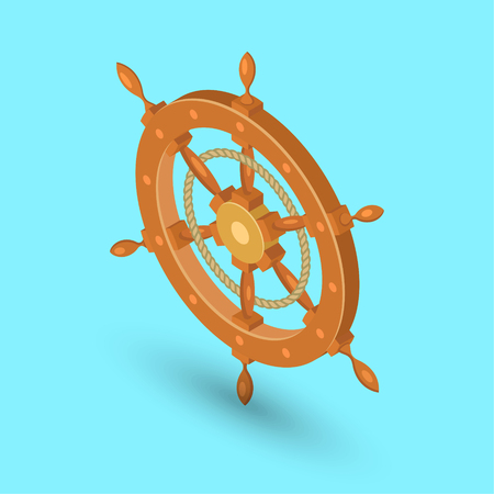 Sea steering wheel. A ship steering wheel on the isolated background.Element for design.3D. Isometry. A vector illustration in flat style. Stock fotó - 124089126