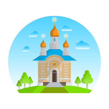 Christian church. The building for a church service. The temple against the background of the summer sky with green trees. Religious concept. A vector illustration in flat style. Illustration