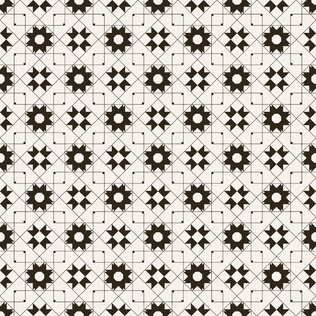 Seamless pattern. Regularly repeating modern stylish geometrical texture with crossed linear rhombus grids, stars, outline squares. Vector element of graphical design Stock fotó - 124089129