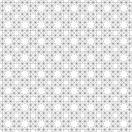 Seamless pattern. Regularly repeating modern stylish geometrical texture with crossed linear rhombus grids, stars, outline squares. Vector element of graphical design