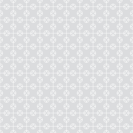 Seamless pattern. Simple classical geometrical texture. Regularly repeating circles, rhombuses, thin lines. Wrapping paper. Vector element of graphical design Illusztráció