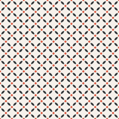 Seamless pattern. Simple geometrical texture. Regularly repeating rhombus tiles with ovals, rhombuses. Vector element of graphical design