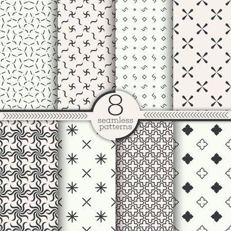 Set of vector seamless patterns. Classical stylish textures. Regularly repeating geometrical ornaments with rhombus, corner, cross. Surface for wrapping paper, shirts, cloths.