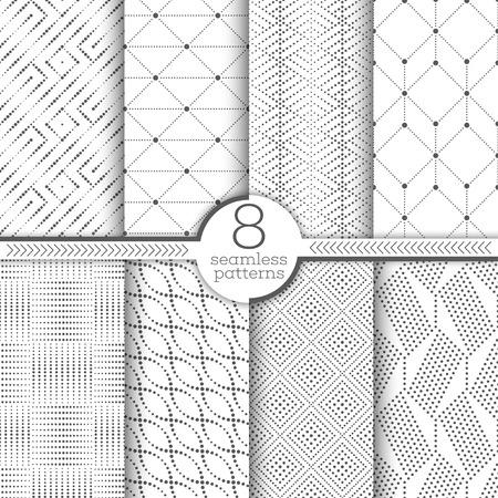 Insieme dei reticoli senza giunte di vettore. Texture moderne ed eleganti con piccoli punti. Ornamenti geometrici a ripetizione infinita con forme punteggiate, rombo, triangolo, esagono, quadrato, ovale diagonale