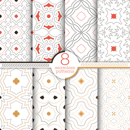 Set of vector seamless patterns. Modern stylish textures with small dots. Infinitely repeating geometrical ornaments with dotted shapes. Abstract small dotted backgrounds