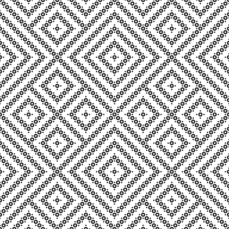 Seamless pattern. Infinitely repeating modern texture consisting of small dots and circles, which form geometric tiles with rhombus shapes. Vector element of graphical design