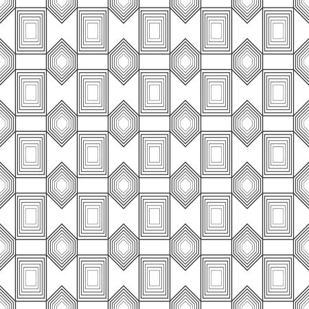 Seamless pattern. Abstract geometrical background. Modern stylish texture. Regularly repeating linear rectangles, hexagons. Thin line. Outline. Vector element of graphical design