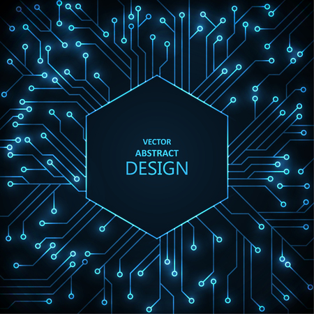 The shining scheme with a hexagonal frame. Digital technology. Neon futuristic design. Computer concept. Vector illustration.