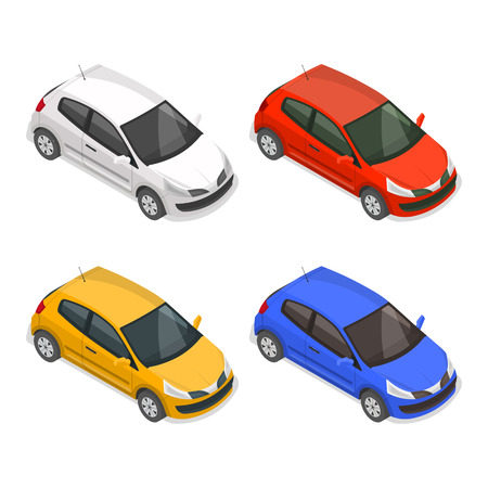 Set of passenger multi-colored cars on the isolated white background.3D. Isometry.Elements for design. Vector illustration.