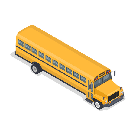 Yellow school bus. The vehicle for pupils. An element for design.3D. Isometry. Vector illustration.