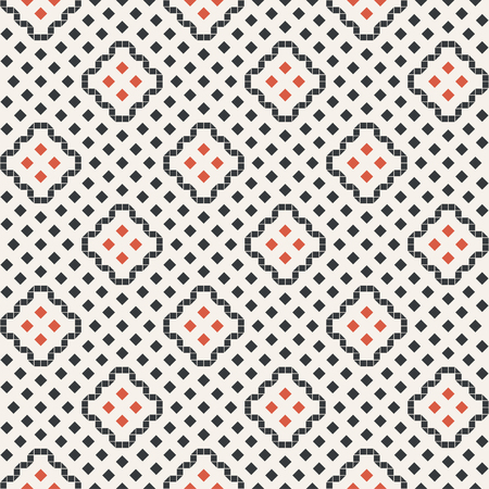 Vector seamless pattern. Abstract small textured background. Classical stylish repeating geometrical texture with repetition rhombuses, triangles, squares. Surface for wrapping paper, shirts, cloths.