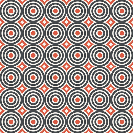 Seamless pattern. Modern stylish texture. Regularly repeating geometrical ornament with circles, dots, rhombuses. Vector element of graphical design