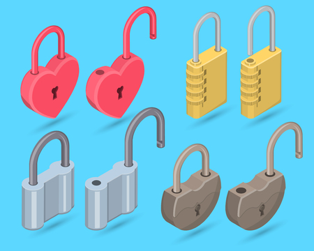 A set of the closed and open locks on the isolated background.