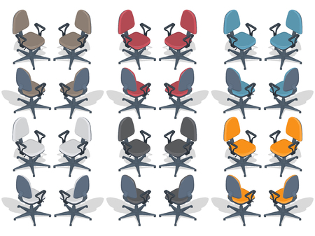 A set of multi-colored office chairs in different provisions. Illusztráció