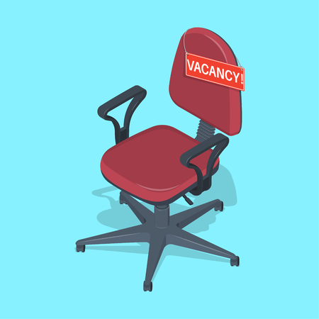 Office chair with the announcement the Vacancy. Employment.