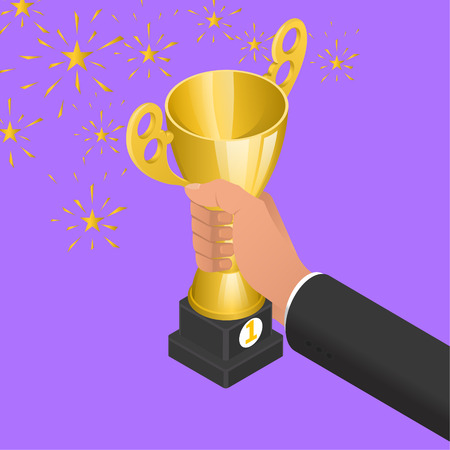 The hand of the businessman holds a champion cup. Concept of a victory in business. Award for successful work. Triumph. 3D. Isometry. Vector illustration.