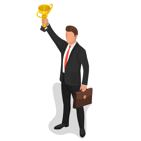 The businessman lifts a champion cup of the winner.Concept of a victory in business. Award for successful work. Triumph. 3D. Isometry. Vector illustration.