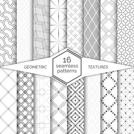 Modern stylish textures.  Regularly repeating geometrical ornaments with zigzags, hexagons, cubes, corners, dashed thin lines, dots, rhombuses, stars, circles, linear squares Stock fotó - 124096268