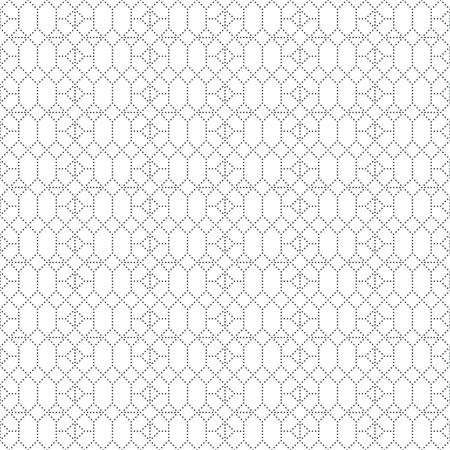 Seamless pattern. Abstract small textured background. Modern simple geometrical texture. Regularly repeating dotted hexagons, rhombuses, triangles.