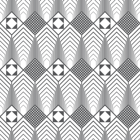 Seamless pattern. Infinitely repeating modern geometrical texture consisting of hexagons, rhombuses, triangles. Thin line. Trendy design. Stock fotó - 124096274