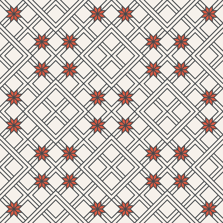 Seamless pattern. Modern stylish geometrical texture with thin lines which form traditional tiles with linear rhombuses, flowers. Abstract regularly repeating background.
